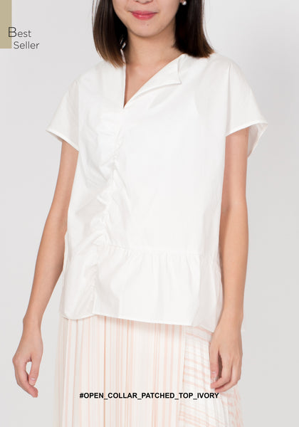 Open Collar Patched Top Ivory