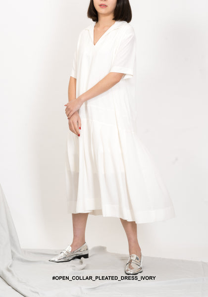 Open Collar Pleated Dress Ivory - whoami