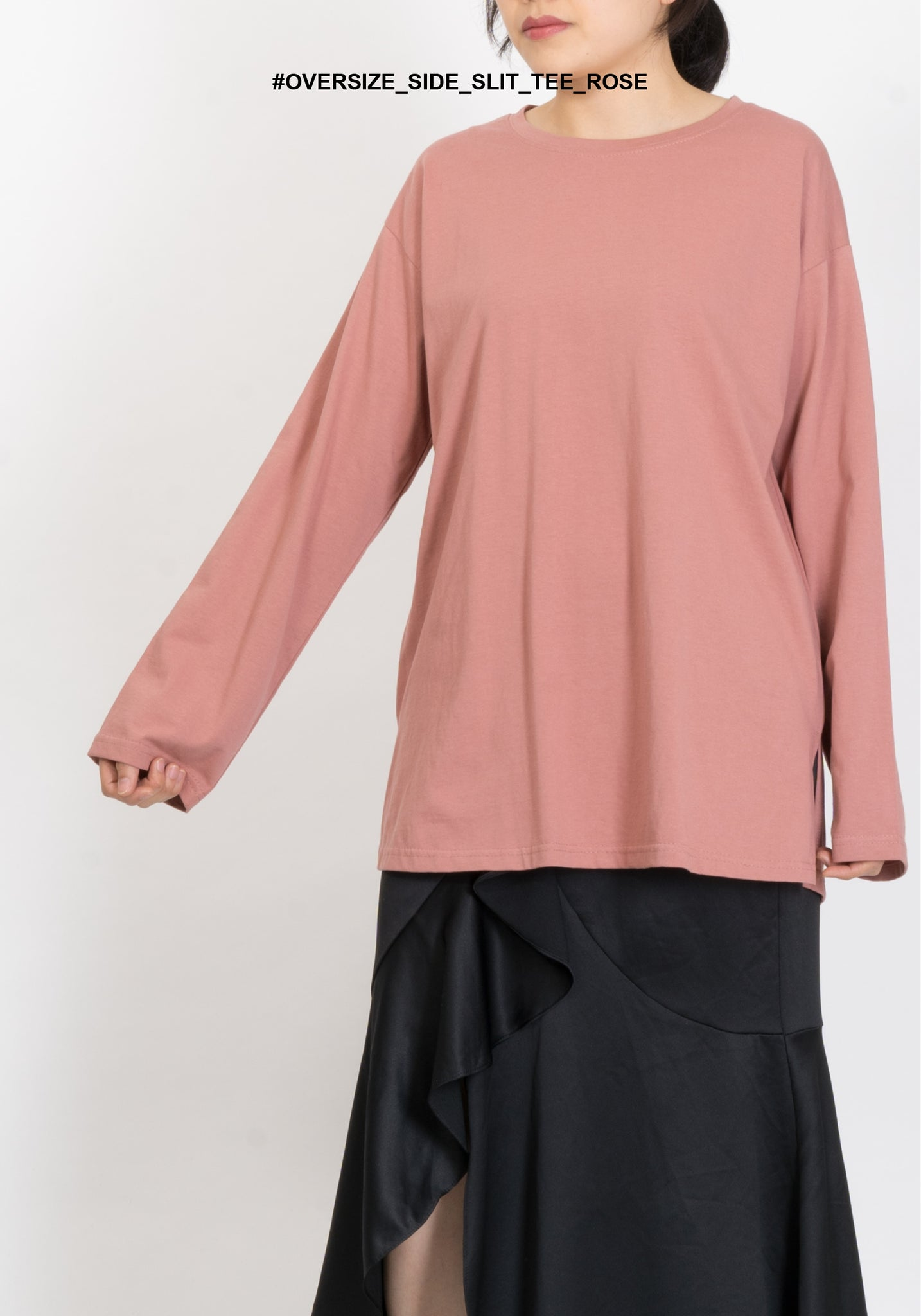 Oversize Side Slit Tee Rose - whoami