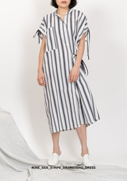 One Side Stripe Drawstring Dress