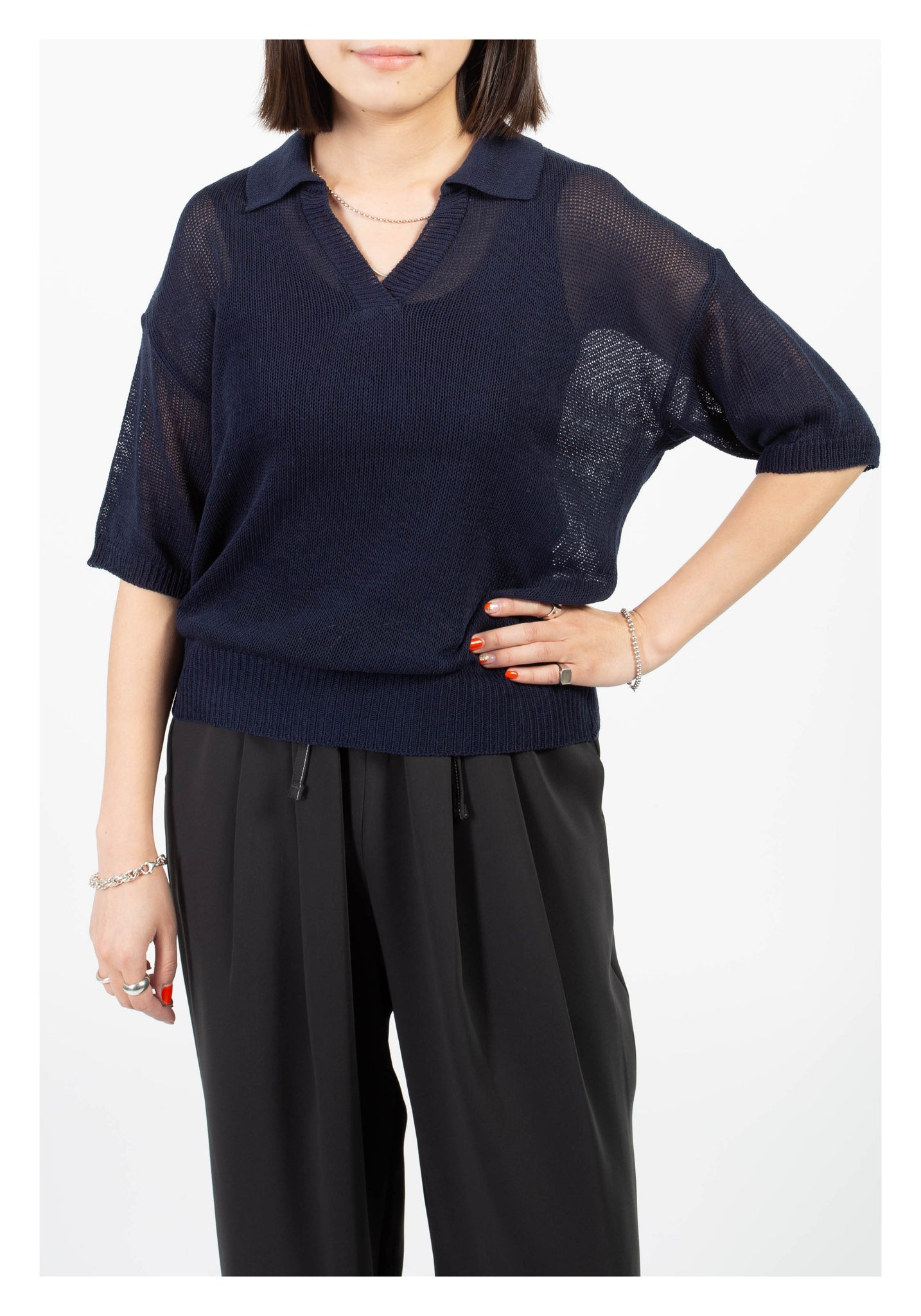 Open Collar Causal Knit Top Navy