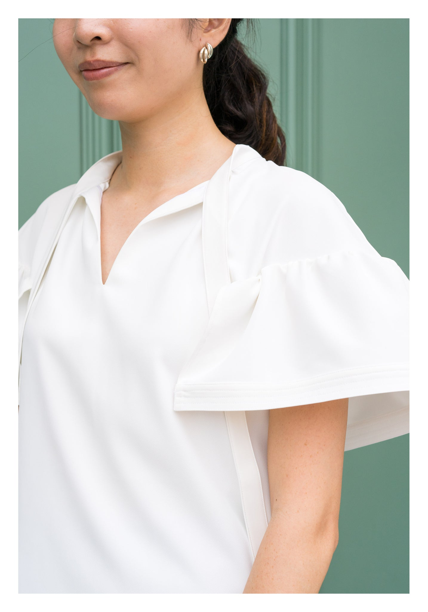 Open Collar Flare Sleeve Top White - whoami