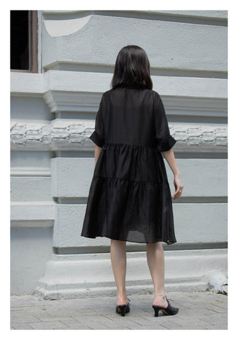 Open Collar Blossom Dress Black