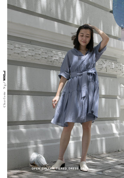 Open Collar Blossom Dress Grey