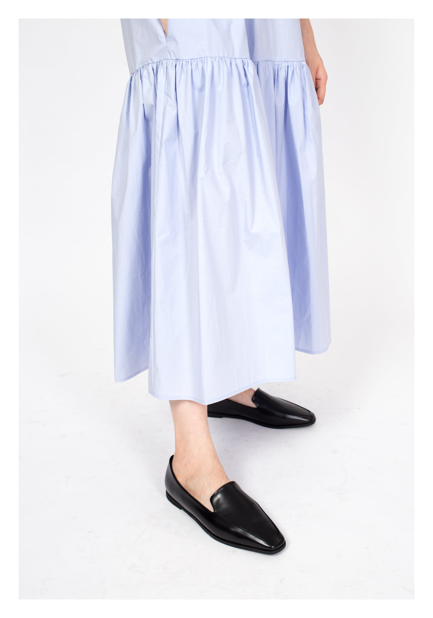 Open Collar Pocket Dress Sky Blue