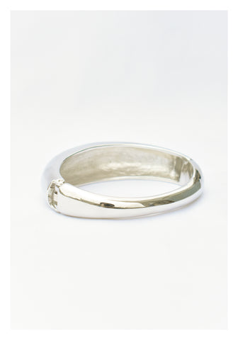 Organic Bold Brass Bangle Silver