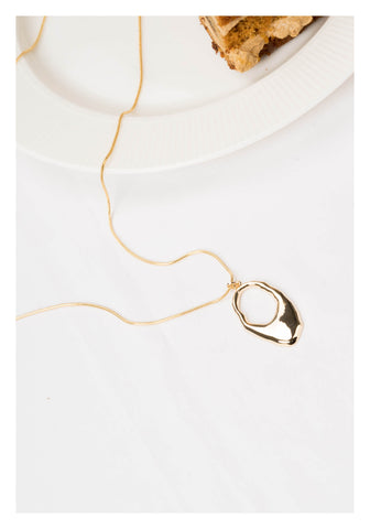 Organic Ring Pendant Necklace Gold - whoami