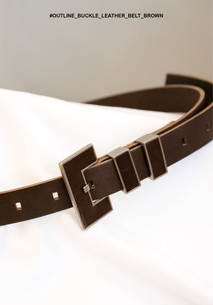 Outline Buckle Leather Belt Brown