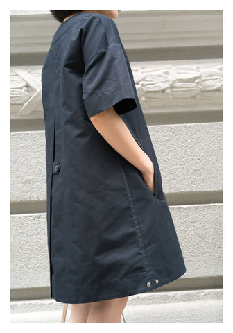 Overlap V Neck Dress Navy