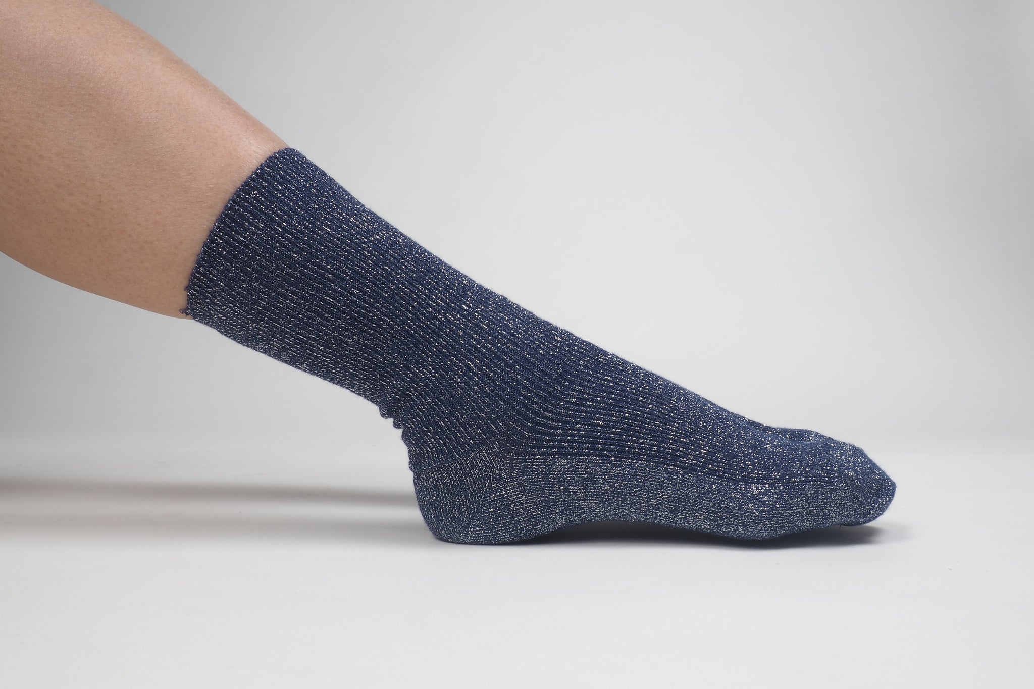 Glitter Ribbed Socks Blue