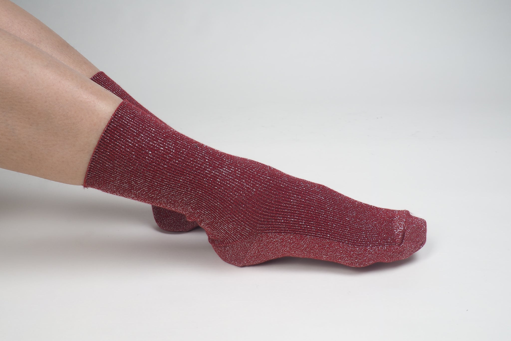 Glitter Ribbed Socks Red