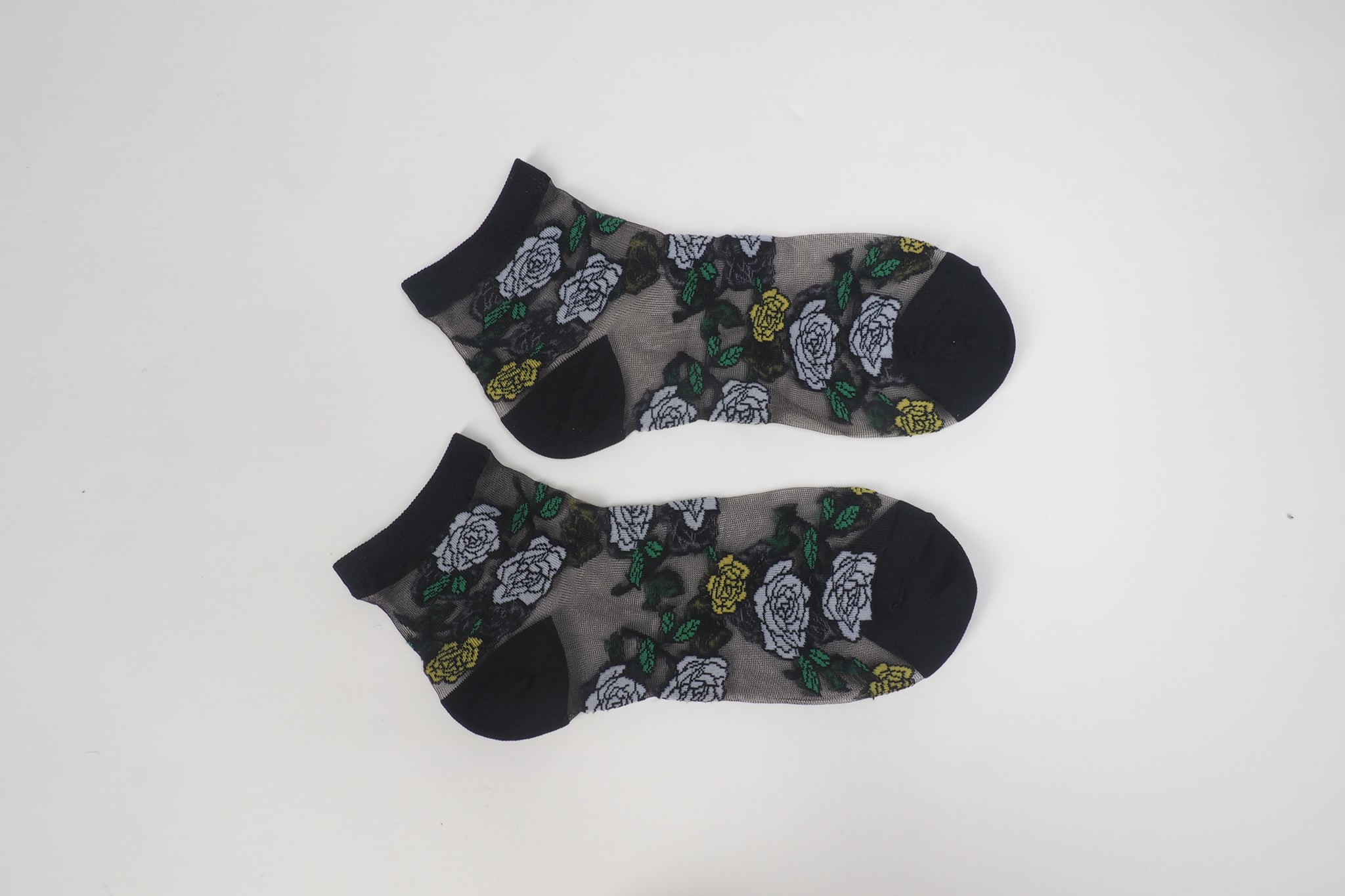 See Through Flower Socks Black