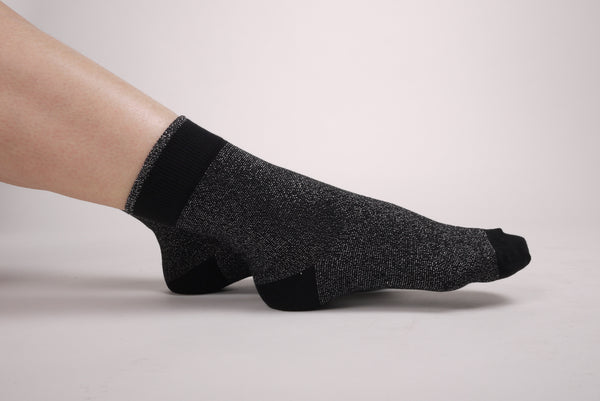 Basic Hem Glitter Socks Black