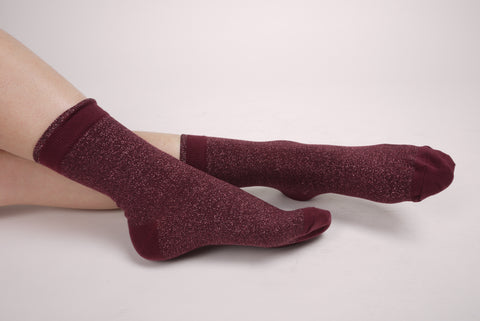 Basic Hem Glitter Socks Burgundy
