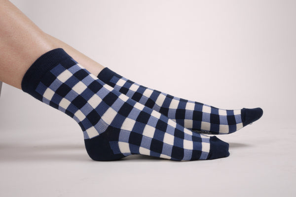 Gingham Check Socks Navy