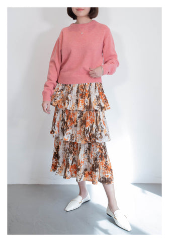 Painting Tiered Skirt Orange - whoami