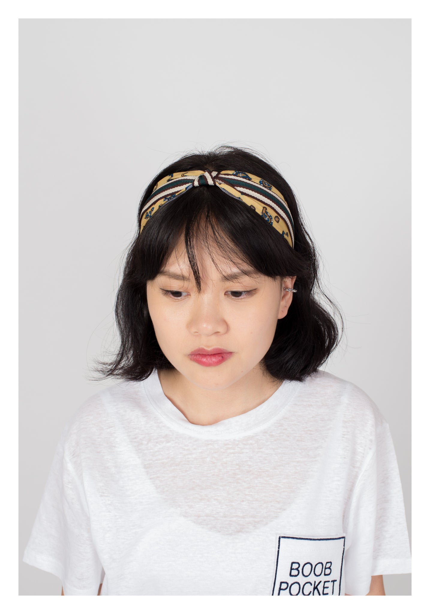 Paisley and Strap Knot Headband Yellow - whoami