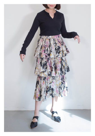 Painting Tiered Skirt Purple - whoami