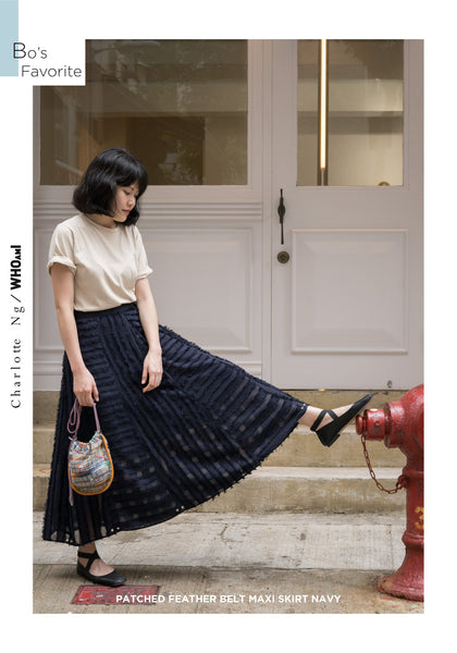 Patched Feather Belt Maxi Skirt Navy