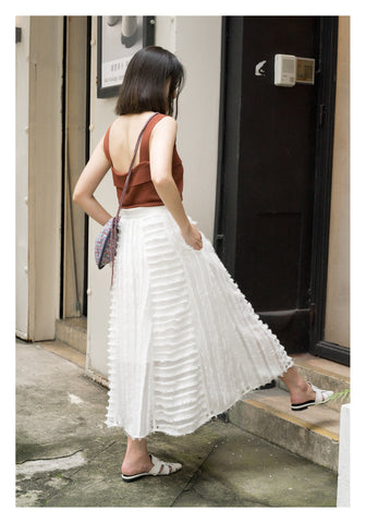Patched Feather Belt Maxi Skirt White - whoami