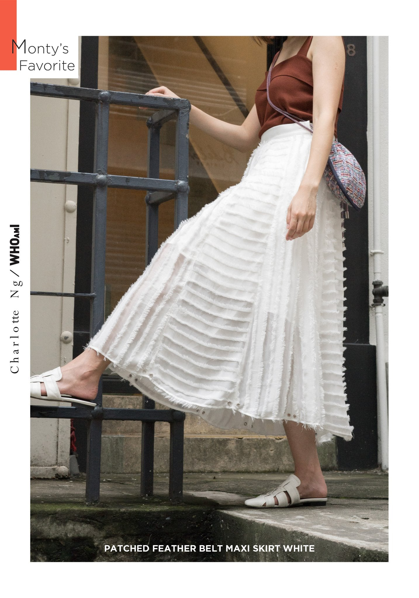 Patched Feather Belt Maxi Skirt White