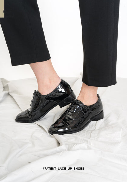Patent Lace Up Shoes - whoami