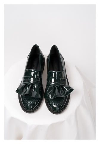 Patent Ruffle Loafer Green