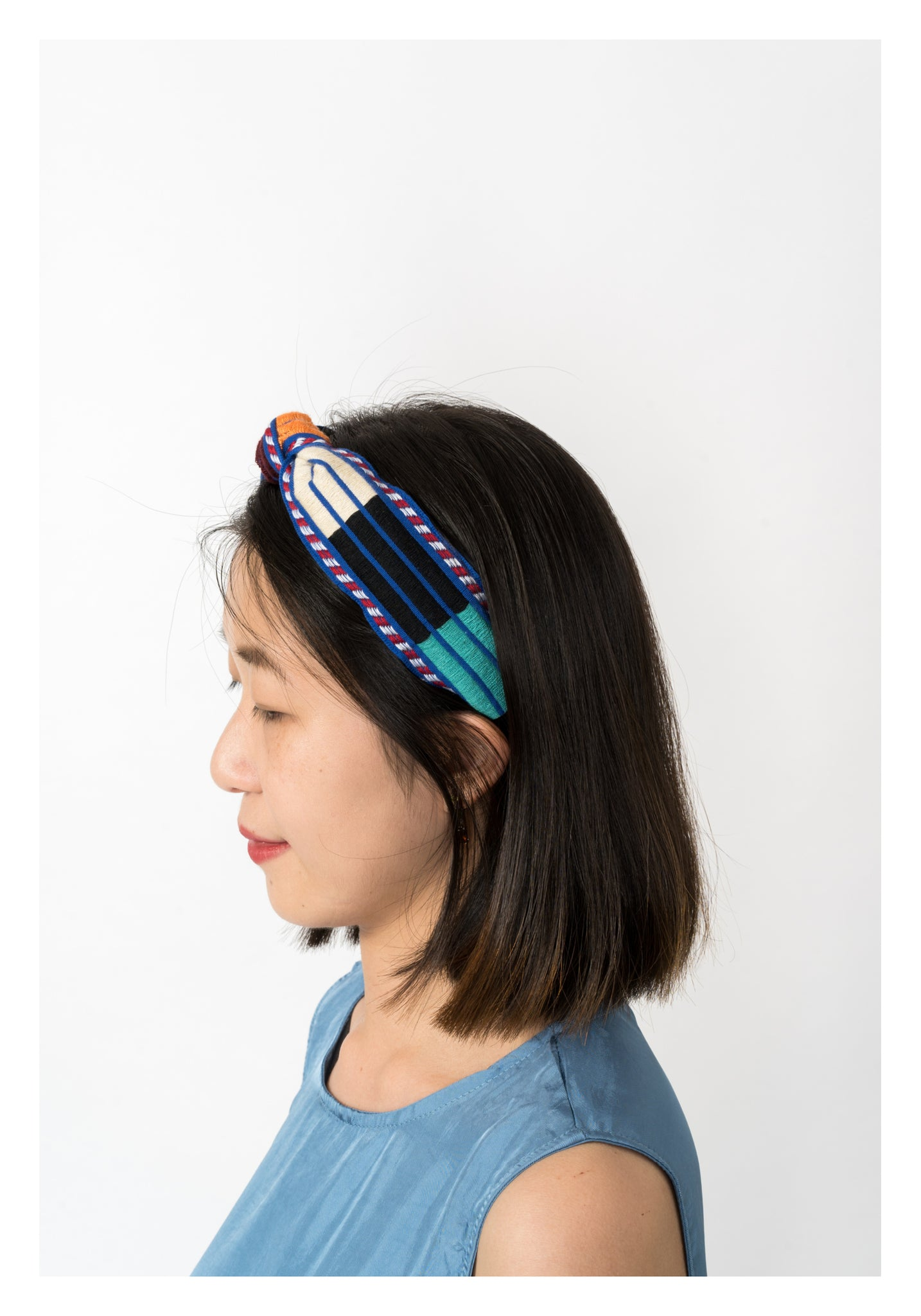 Pattern Strap Hairband Blue - whoami