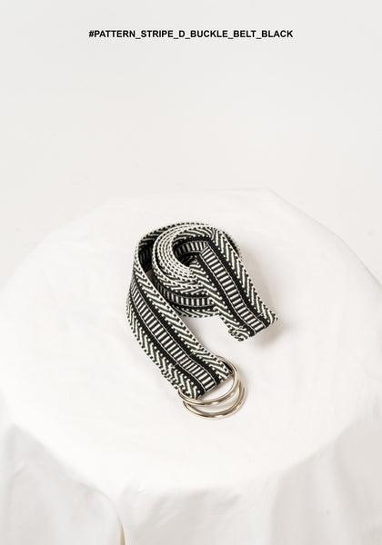 Pattern Stripe D Buckle Belt Black - whoami