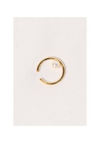 Pearl On Hoop Ear Cuffs Gold - whoami
