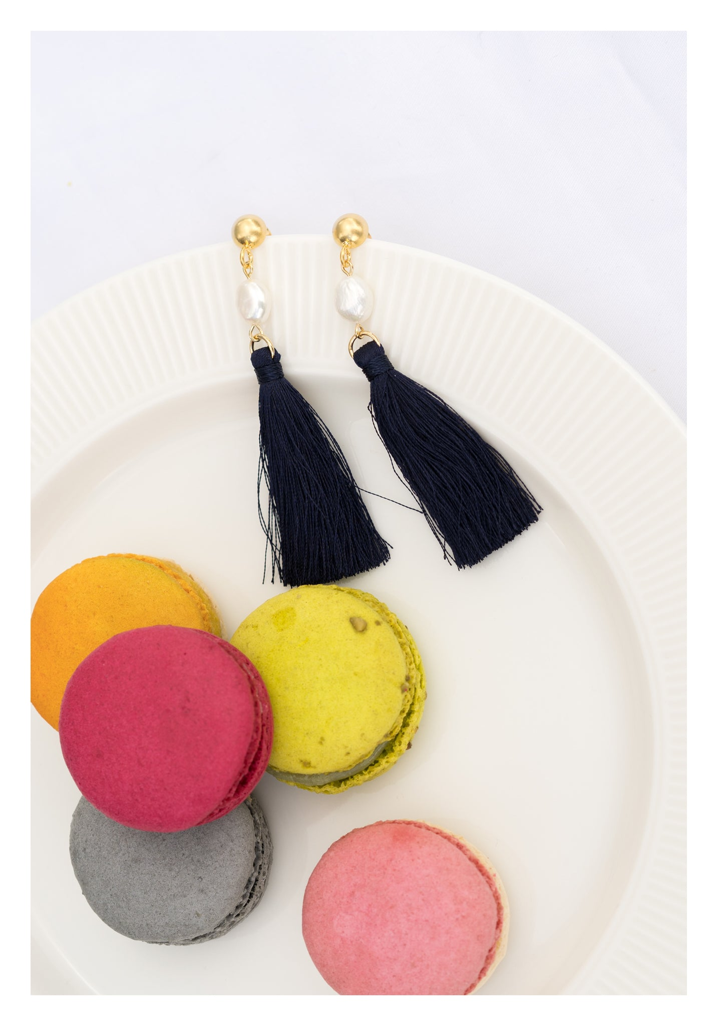 Pearl Tassel Earrings Navy