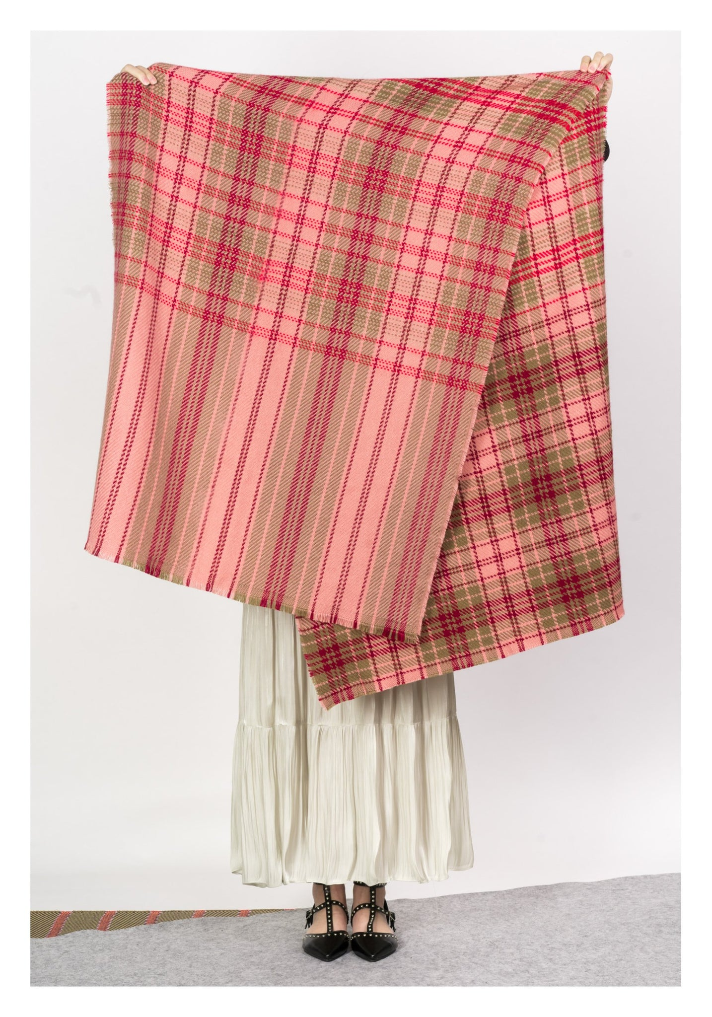 Pink and Red Checker Scarf - whoami