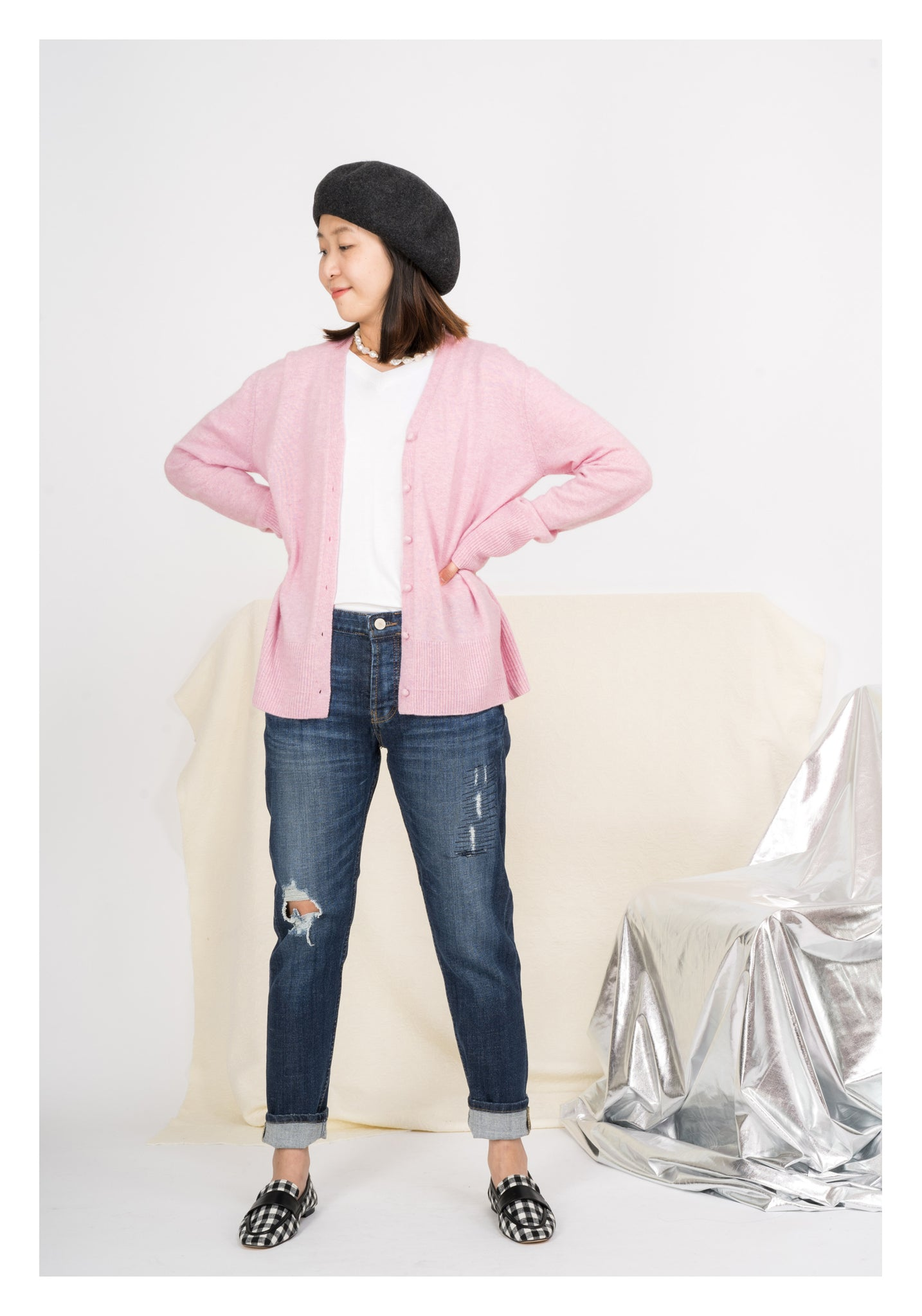 Pink Wool Button Cardigan