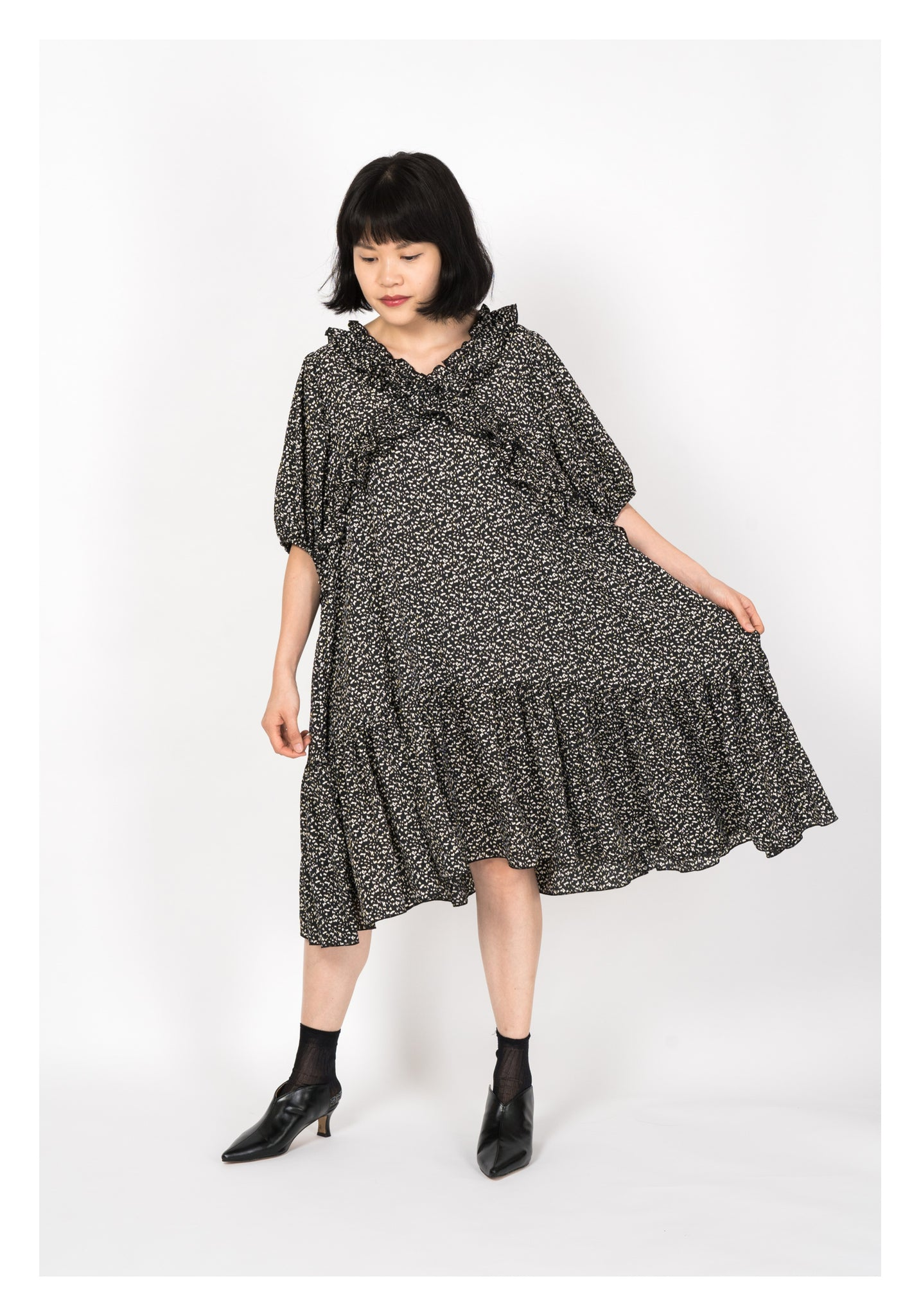 Puff Sleeve Doll Pattern Dress Black