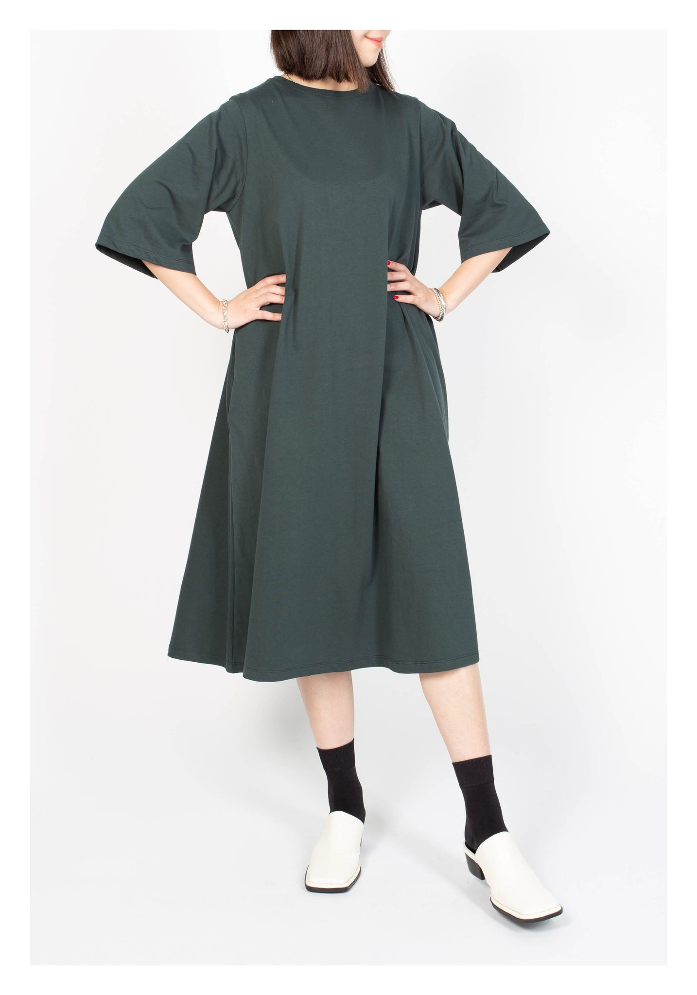 Pocket Cotton Flare Dress Dark Green