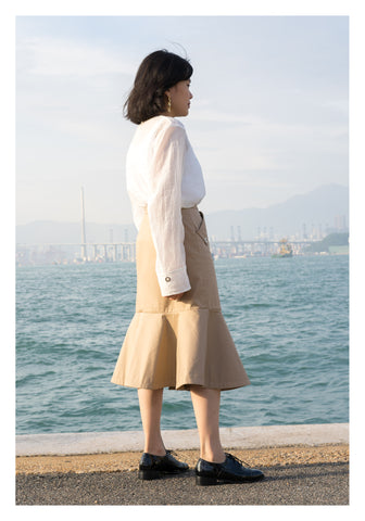 Pocket Flare Hem Skirt Beige - whoami
