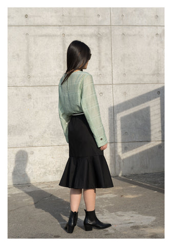 Pocket Flare Hem Skirt Black - whoami