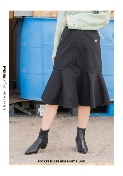 Pocket Flare Hem Skirt Black