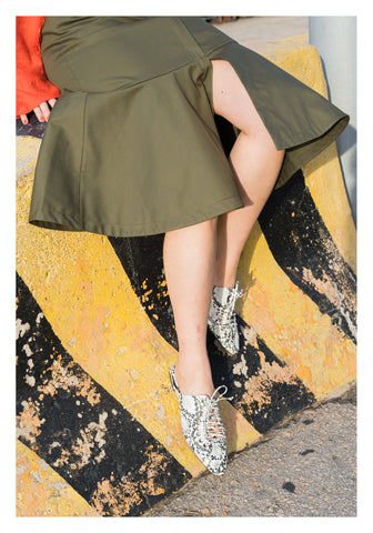 Pocket Flare Hem Skirt Military Green