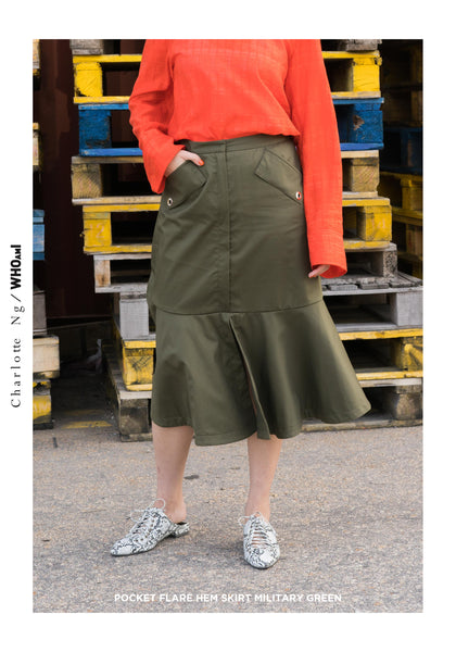 Pocket Flare Hem Skirt Military Green - whoami