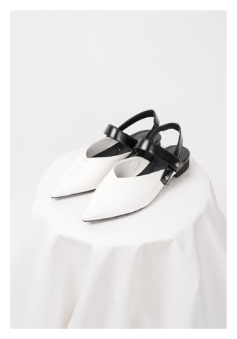 Pointed Strap Shoes White