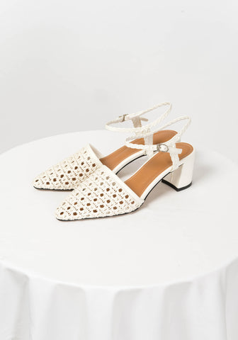 Pointed Woven Slings White - whoami