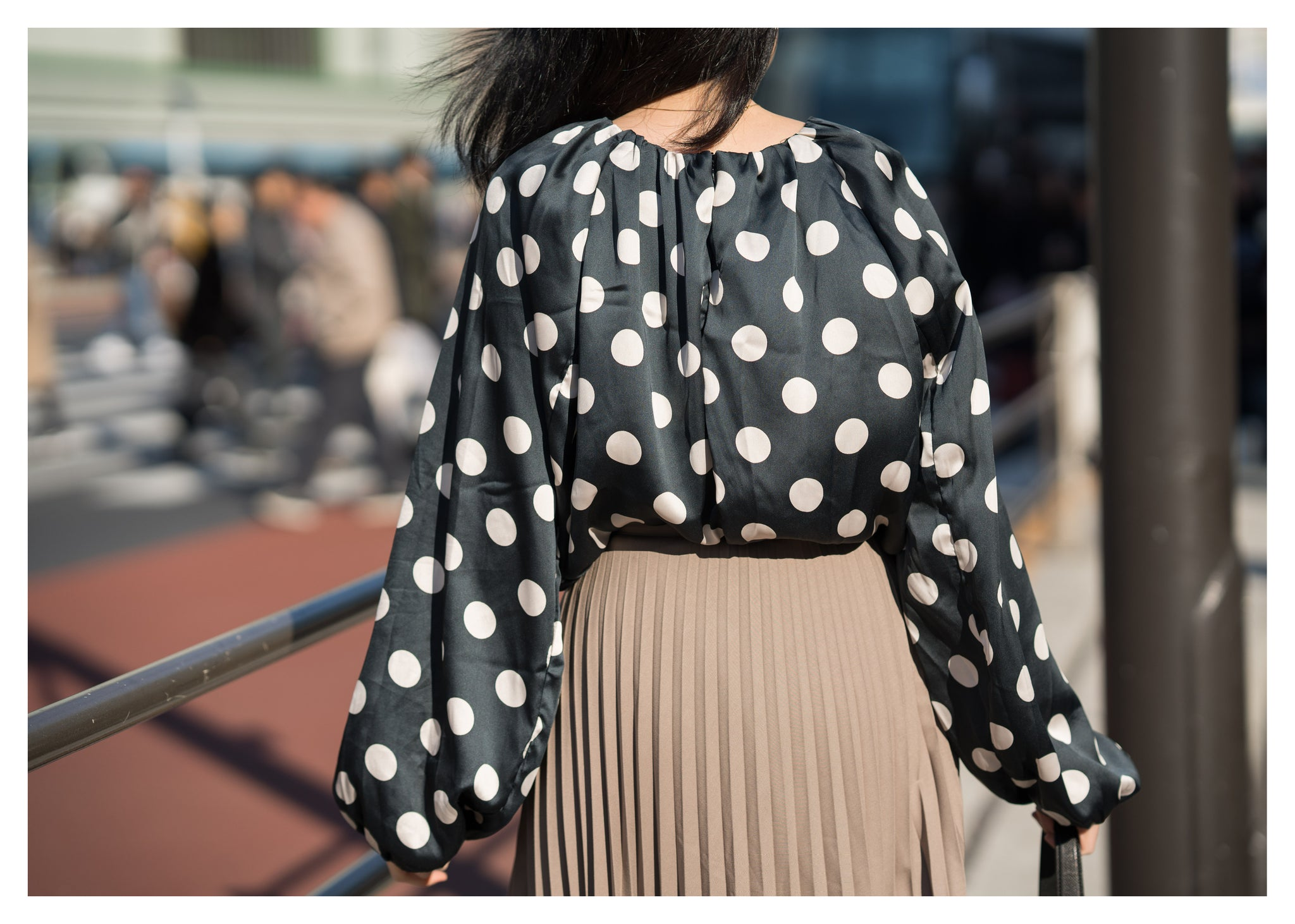 Polka Dot Balloon Sleeves Silky Top