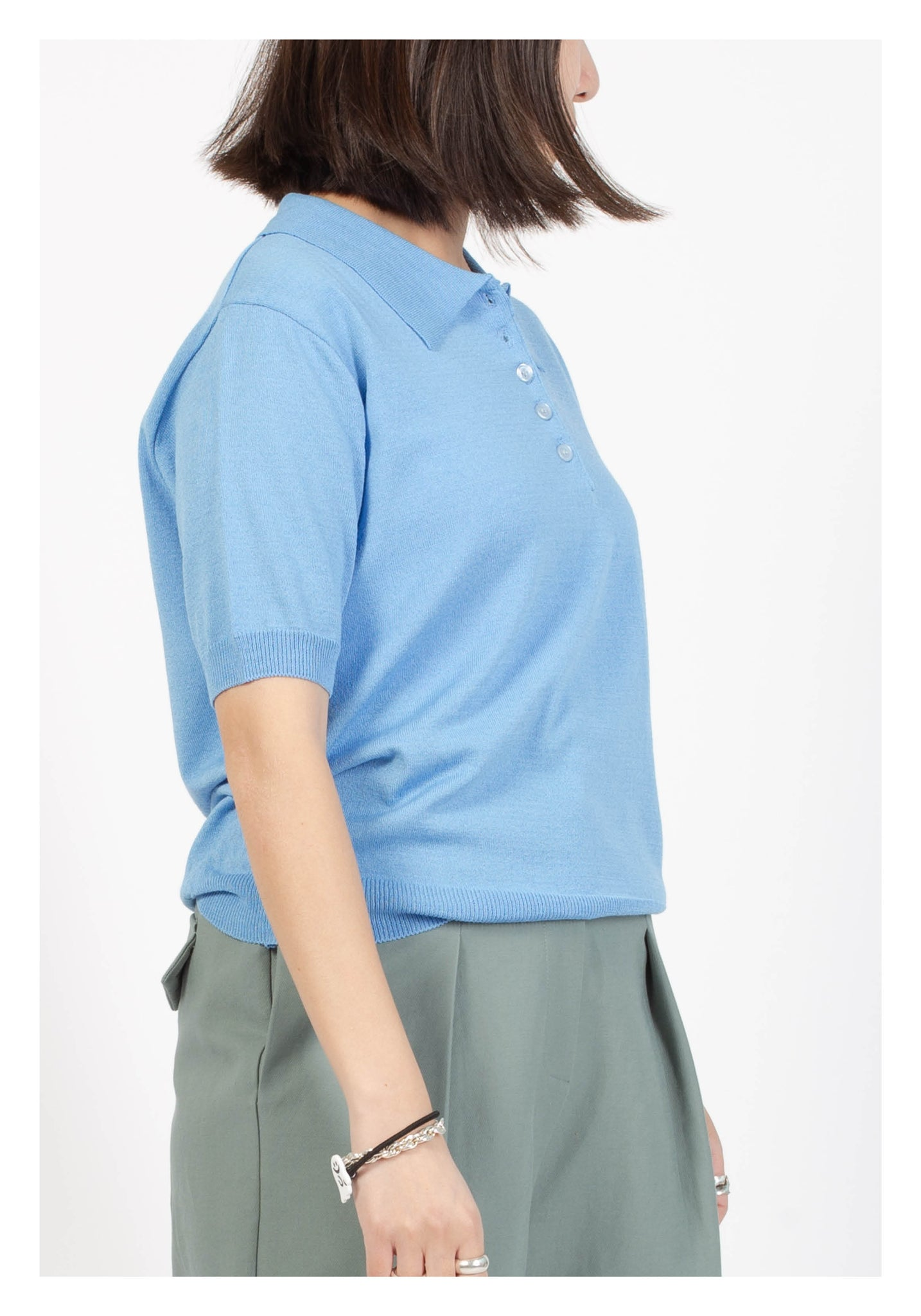 Spring Polo Knitted Top Blue