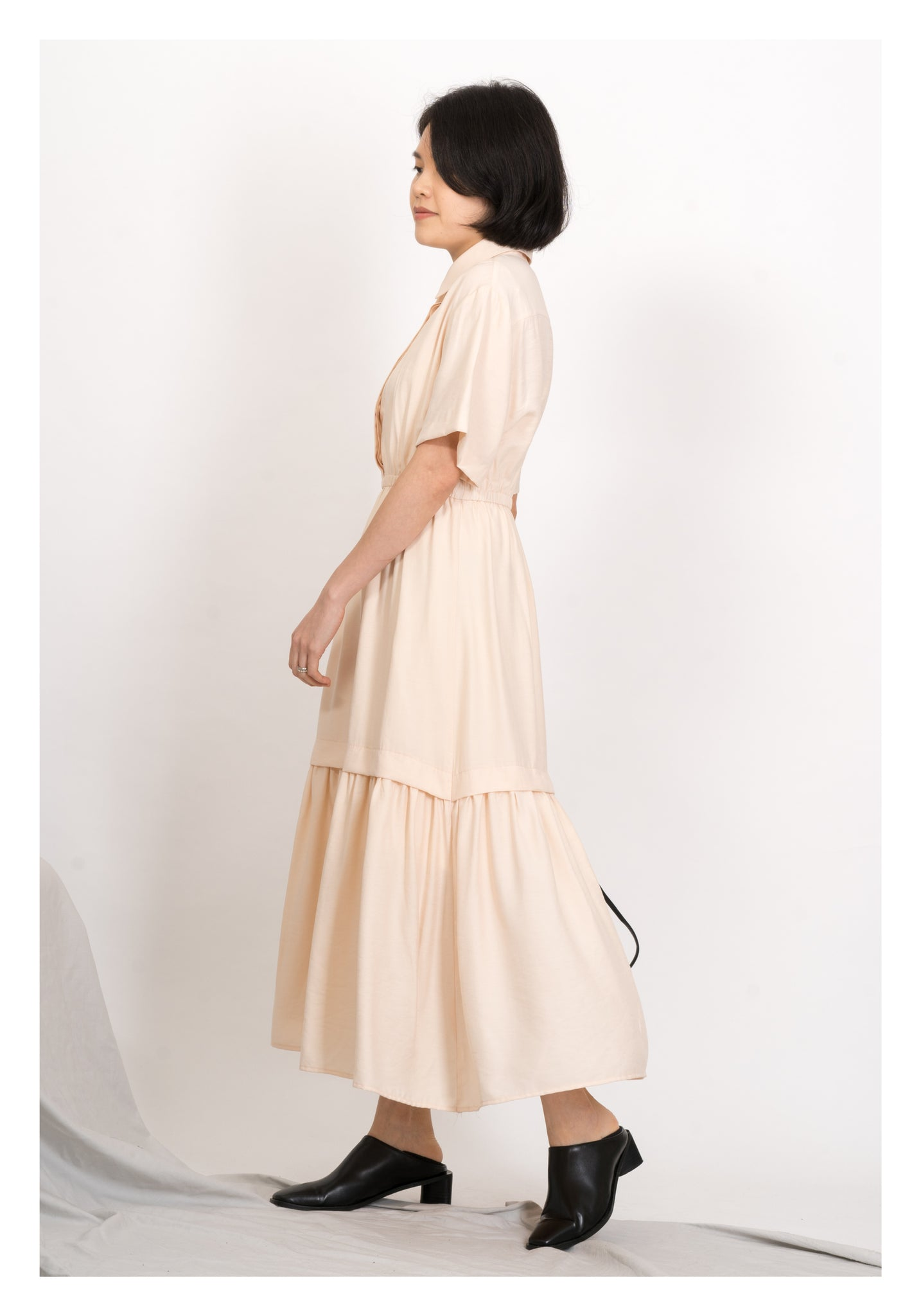 Polo Collar Tiered Dripping Dress Coral - whoami