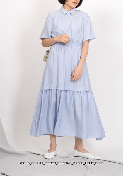 Polo Collar Tiered Dripping Dress Light Blue - whoami