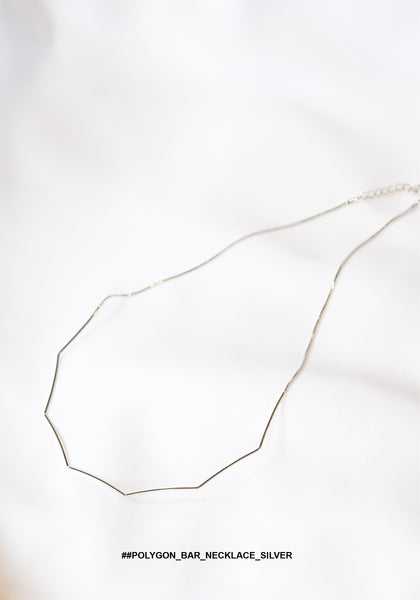 Polygon Bar Necklace Silver