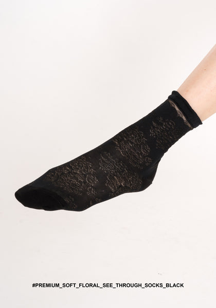Premium Soft Floral See Through Socks Black - whoami