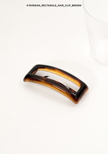 Pairsian Rectangle Hair Clip Brown - whoami