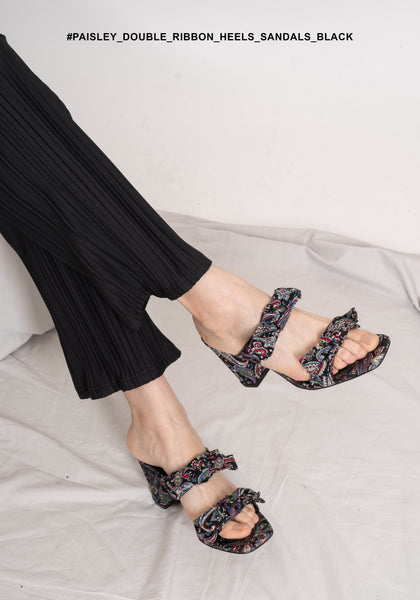 Paisley Double Ribbon Heels Sandals Black - whoami
